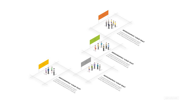 Free PowerPoint Template with Business Team and 4 Step Process Infographic
