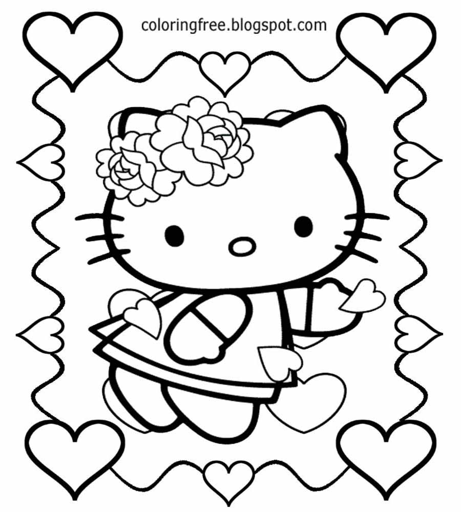 how to draw hello kitty with love heart