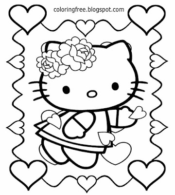 St. Valentines Day free easy coloring love heart Hello Kitty printable girls picture for teenagers