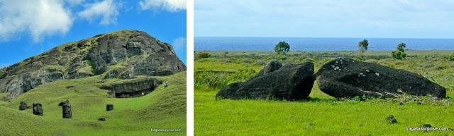 As famosas estátuas de pedra da Ilha de Páscoa, os moais, abandonados nas encostas do vulcão Rano Raraku