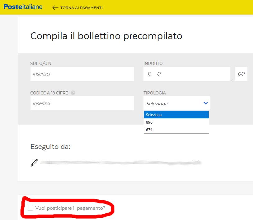 Compilazione del bollettino precompilato di Bancoposta Online