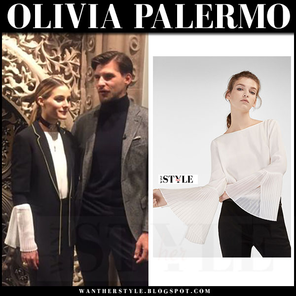 Olivia Palermo in black suit and wide leg pants with piping and white top with pleated sleeves massimo dutti what she wore
