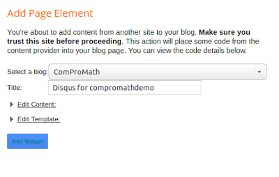 Add page element for disqus in blogger