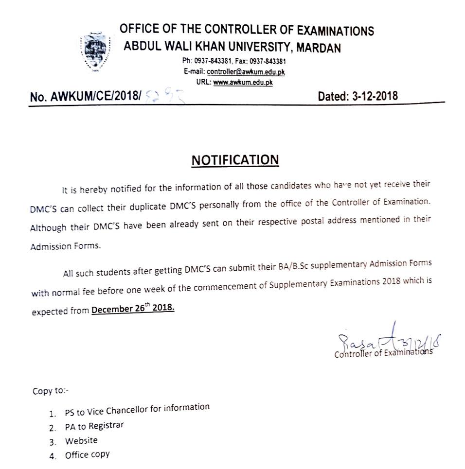 Abdul Wali Khan University Mardan: Notification From Controller of
