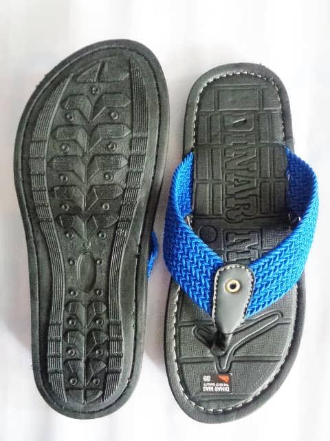 Sandal Spon Dinar MAs Tali biru tampak atas