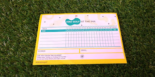 Scorecard for the Mini Golf course at the IMA