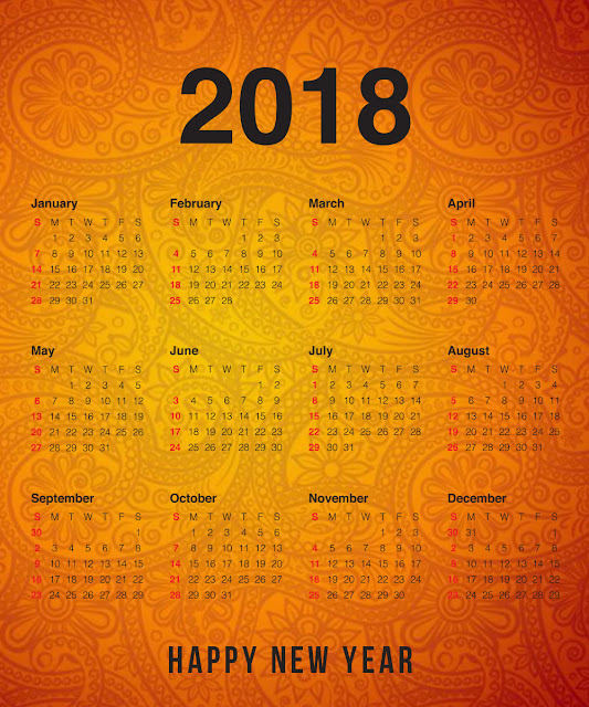 Printable Happy New Year 2018 Calendar download