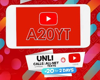 TM A20YT - 2 Days Unli Calls and All Net texts + YouTube and more