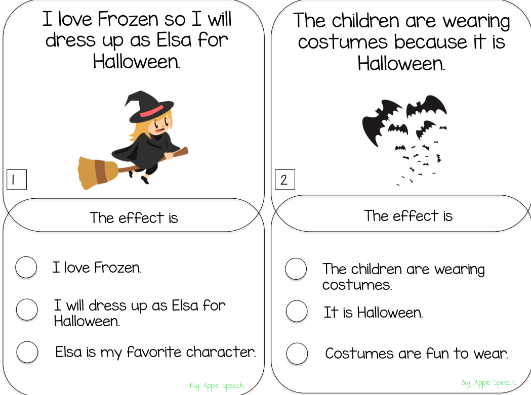 Big Apple Speech Halloween Cause And Effect Task Cards