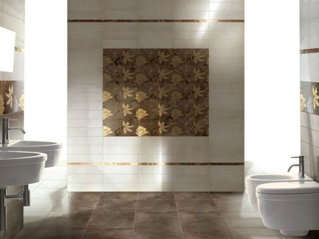 Golden Floral Tile Pattern For Luxury Bathroom Interior Design