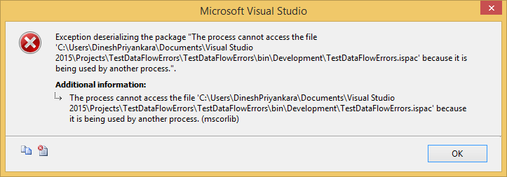 Dinesh's Blog :::: Being Compiled ::::: SSIS Exception deserializing