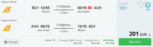 Milano (MXP) - Abu Dhabi a/r a 201 €