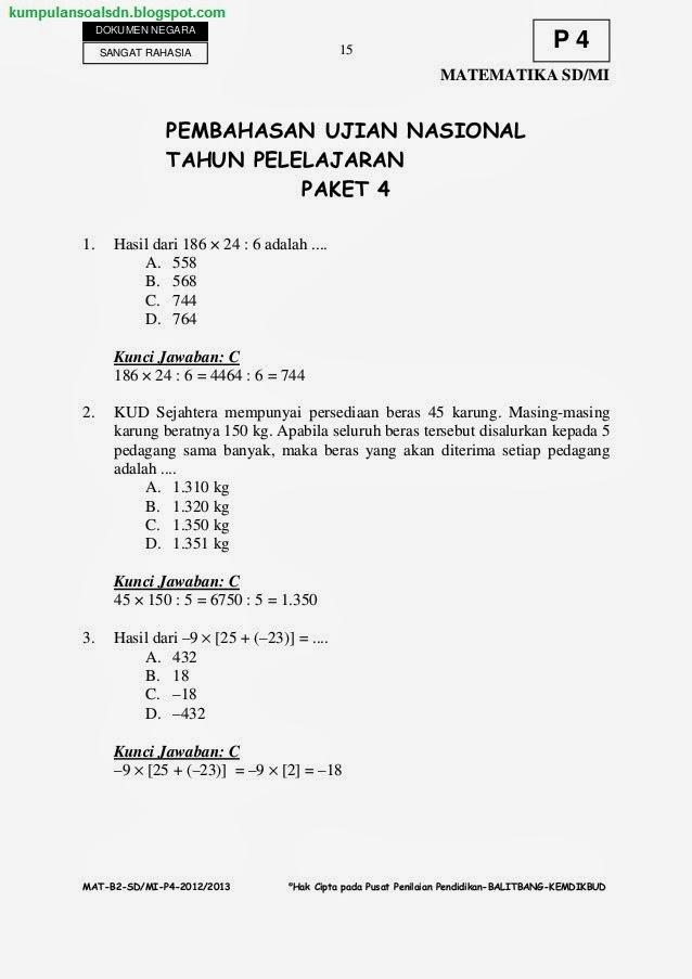 Soal Matematika Kelas 6 : matematika, kelas, Kumpulan, Pembahasan, Matematika, UN+US+Try, Kelas, Paket, 2012/2013