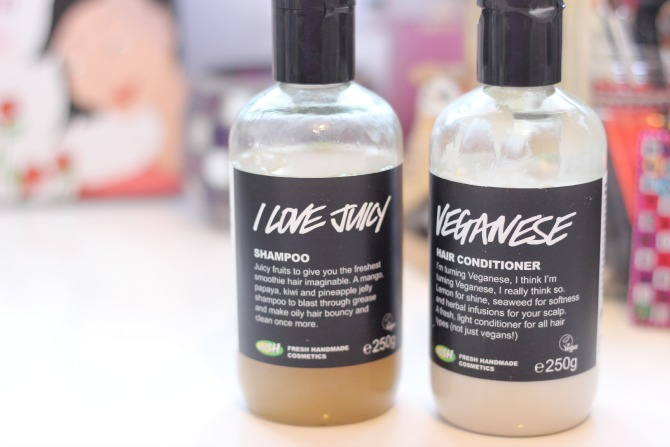 Lush shampoo and conditioner - I love juicy and veganese