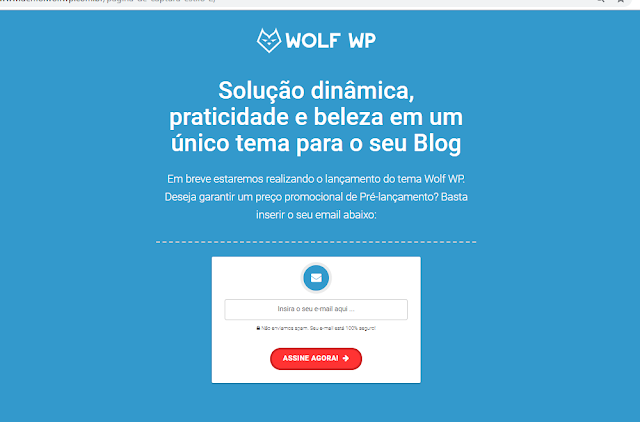 página de captura do tema wolf wp