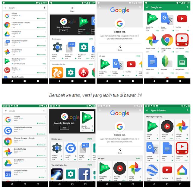 Update Play Store penyesuaian elemen border dan hasil pencarian