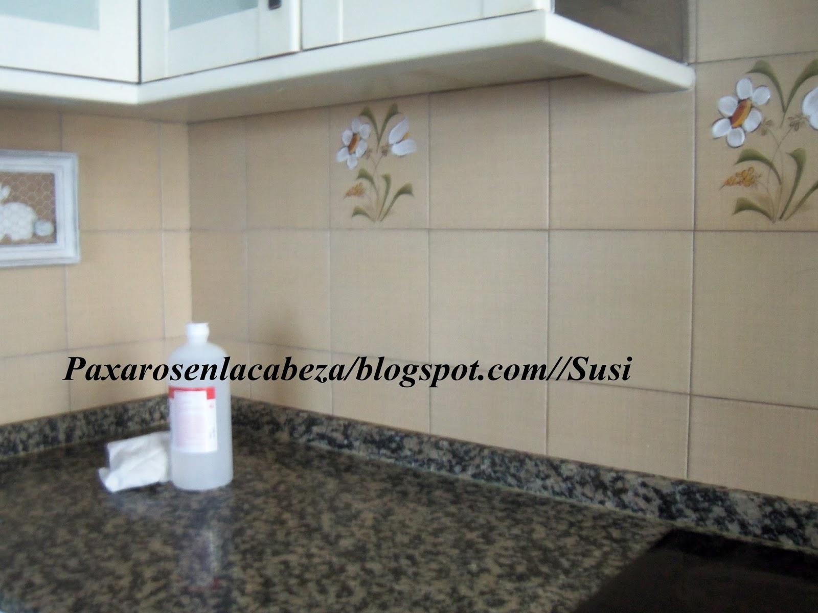 P xaros en la cabeza he pintado los azulejos de la cocina - Pintura para pintar azulejos de cocina ...