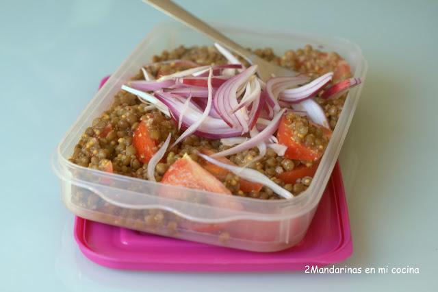 Ensalada de lentejas con cebolla morada y tomate y AIG 2011