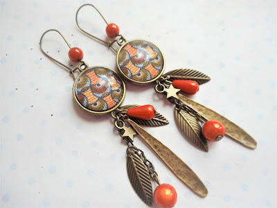 boucles d'oreilles pendantes wax orange et marron