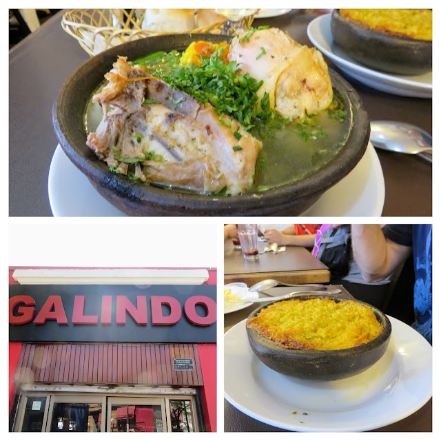 Collage of lunch dishes at Galindo in the Bella Vista neighborhood of Santiago Chile