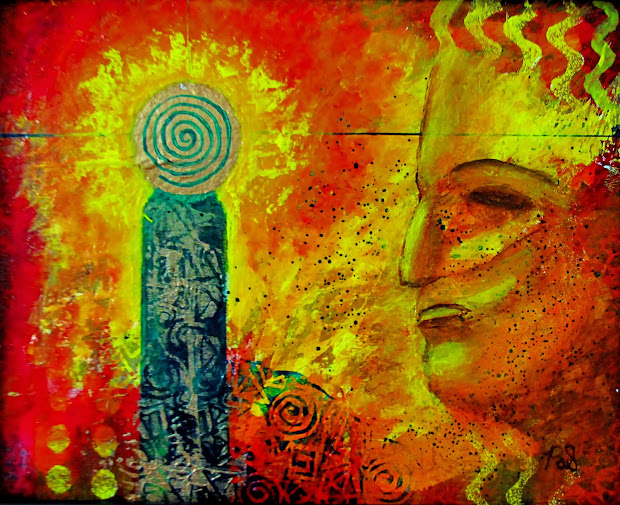 Contemporary Artists Of Arizona Abstract Mixed Media Figure Mystical Face Art Painting