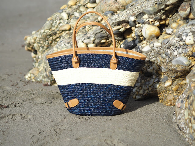 Navy and white raffia beach bag, Nerja beach
