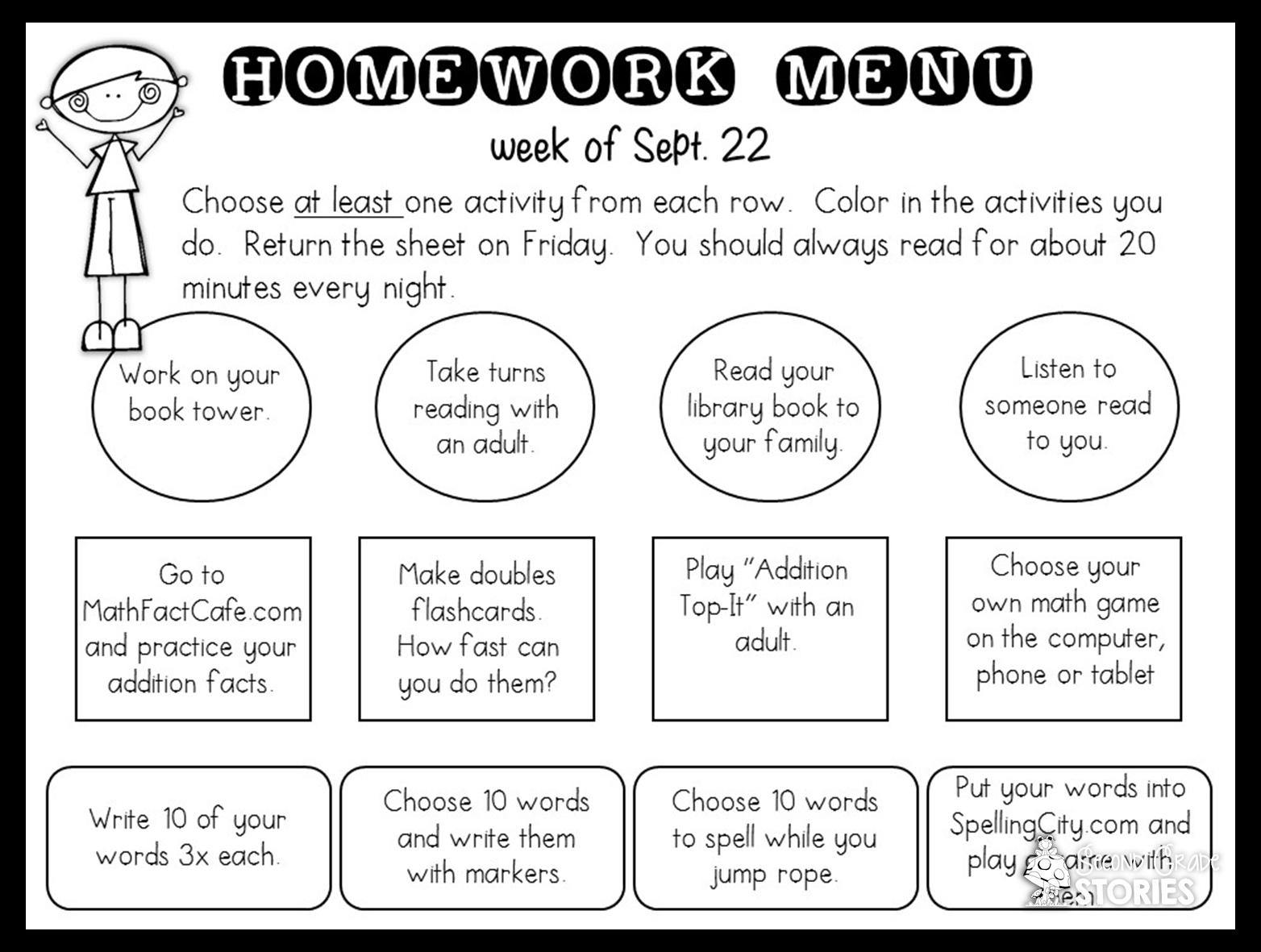 second standard reading homework