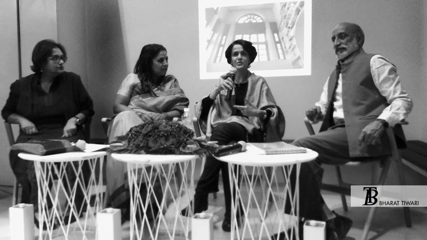 session on Books Covers and Graphic Identity with speakers Aman Nath, Bena Sareen, Priti Paul and Namita Gokhale.