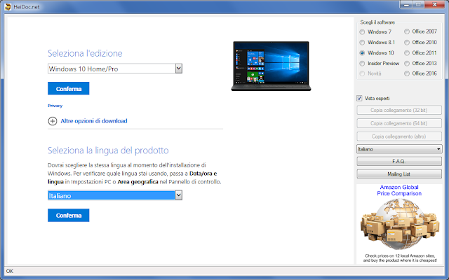 Windows/Office ISO Downloader, Selezione Lingua di Windows 10