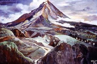 Lukisan Karya Widayat dengan Judul Mount Merapi Seen from Wonocolo