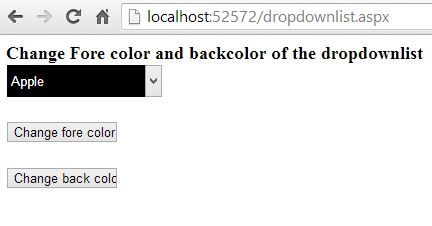 How to change forecolor and backcolor dynamically of dropdownlist in ASP.NET