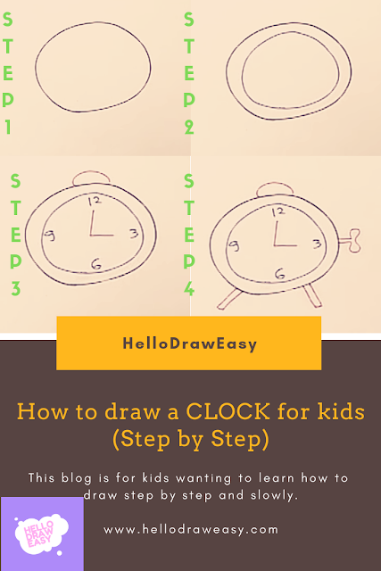 How to draw a CLOCK for kids (Step by Step)