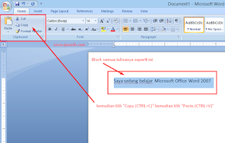 Fungsi Copy, Cut Dan Paste Di Microsoft Word