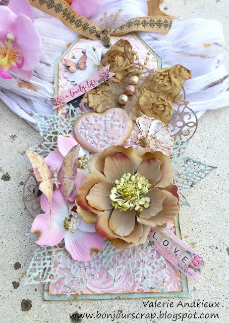shabby chic Prima Marketing tag with dies, flowers, embossing and chalk