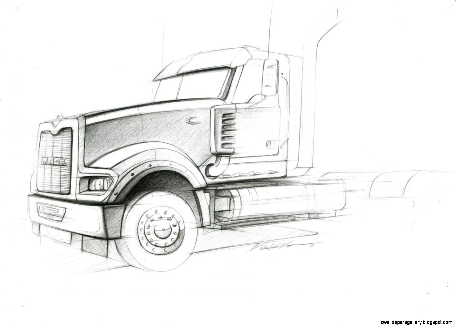 Semi Truck Side View Drawing | Wallpapers Gallery