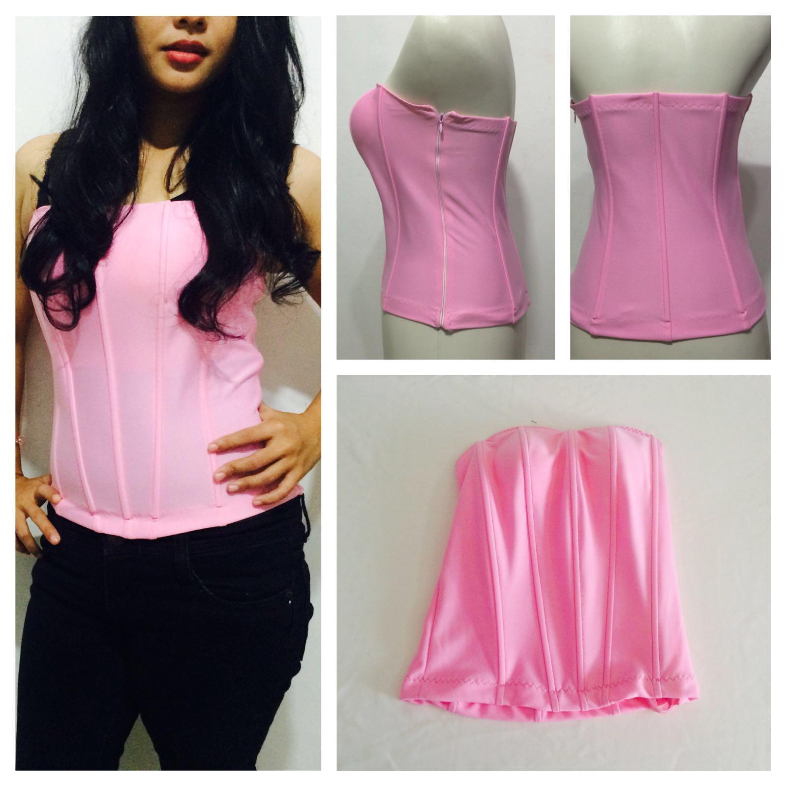dalaman kebaya modern tulang 8 cup baby pink polyester. Bustier atau biasa  disebut longtorso ... b5f9fa91ec