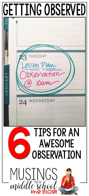 Getting Observed: 6 Tips for an Awesome Observation (Musings from the Middle School)