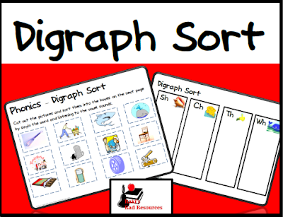 Free digraph phonics sort - help students differentiate between the sh, th, ch and wh sounds with this free sort from Raki's Rad Resources.