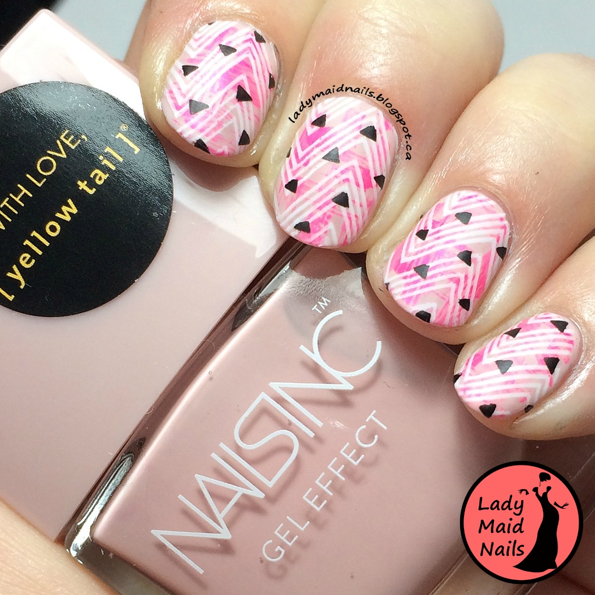 Lady Maid Nails: Neon Pink Nail Stamping, Yellow Tail Moscato