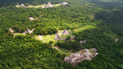 Aerial View of Chichen Itza, Ancient Maya City