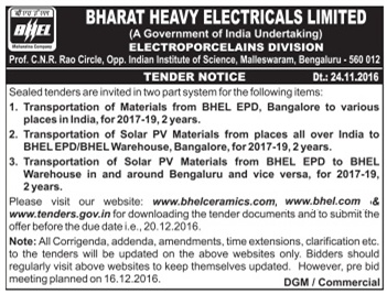 BHEL Tender for Transportation of Materials from BHEL EPD, Bangaluru