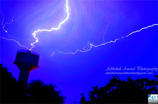 lightning strikes tall water tank