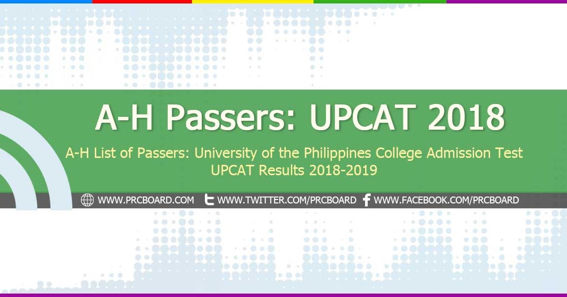 A-H List of Passers: UPCAT Results 2018 - PRCBoard.com