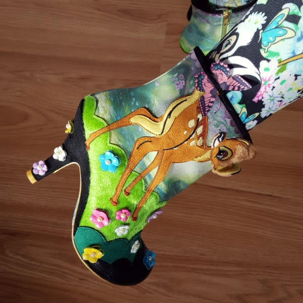 close up of Disney Bambi ankle boot on foot