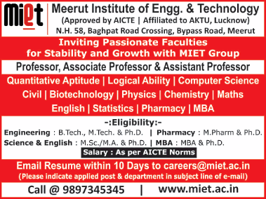 MIET Meerut Biotech faculty Jobs