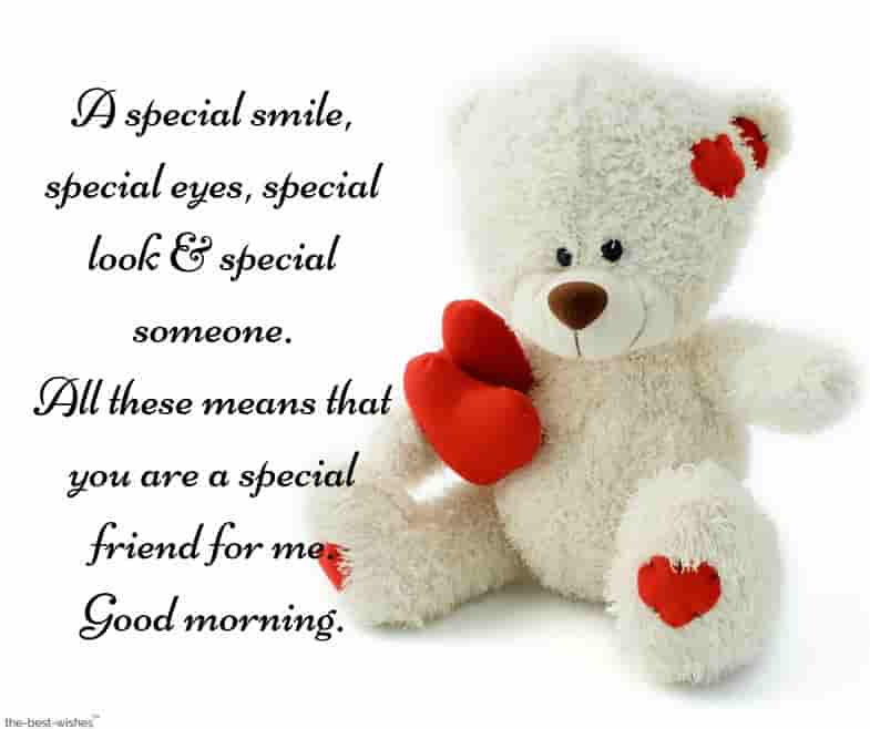 good morning sms for special friend with teddy bear