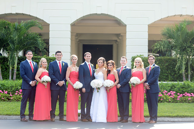 Coral and Navy Wedding Party