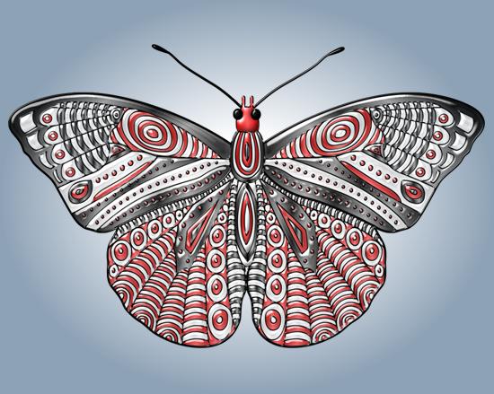 Hermosa mariposa roja y negra - vector y clipart