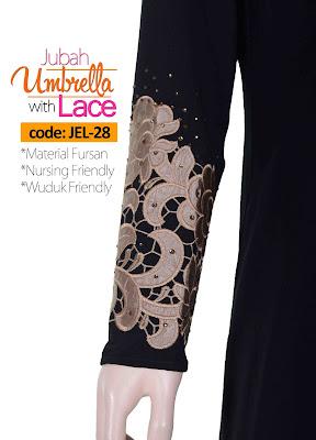 Jubah Umbrella Lace JEL-28 Black Tangan 1