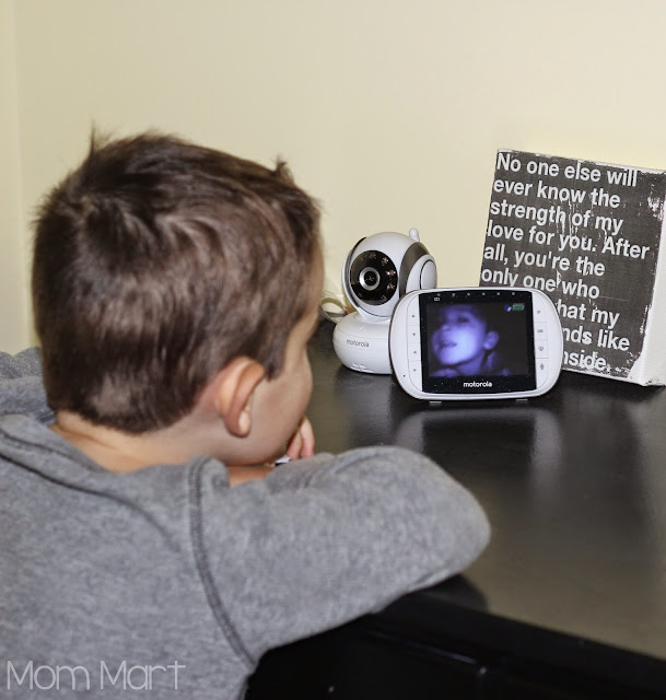 Motorola MBP36S video baby monitor #MotorolaBabyMonitor #CleverGirls little man checking out the technology
